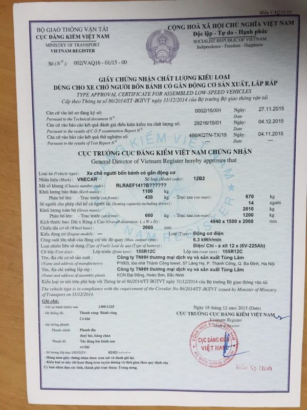 Xe dien Tung Lam TT86:2014:BGTVT